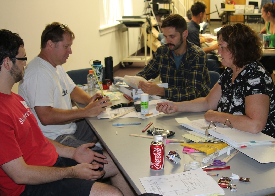 Teachers from several districts took part in this Geometry and Construction curriculum writing class, including (l-r) Churchville-Chili High School math teacher Nathan Holdridge and career and technical education teacher Kevin Doty, seen here with Chris Cummings from the 9/10 WEMOCO Exploration Program and Monroe 2-Orleans BOCES STEM Coach Leslie Tanner. Provided photo