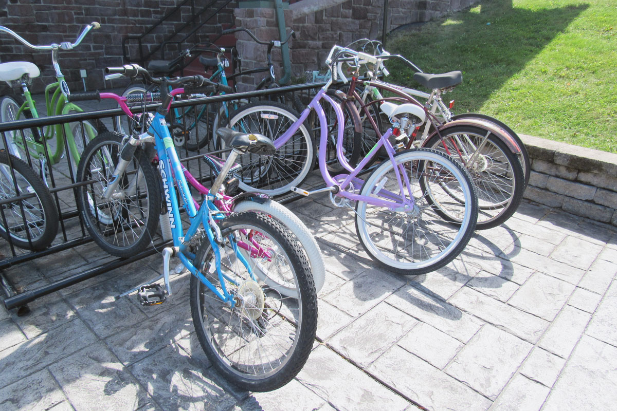 The bike rack at the Welcome Center has been stocked with some new recently donated bicycles. K. Gabalski photo
