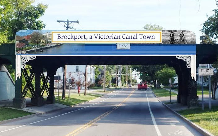 Muralist Stacy Kirby designed the illustration for the new Victorian Gateway, located at the Main Street Railroad Bridge.