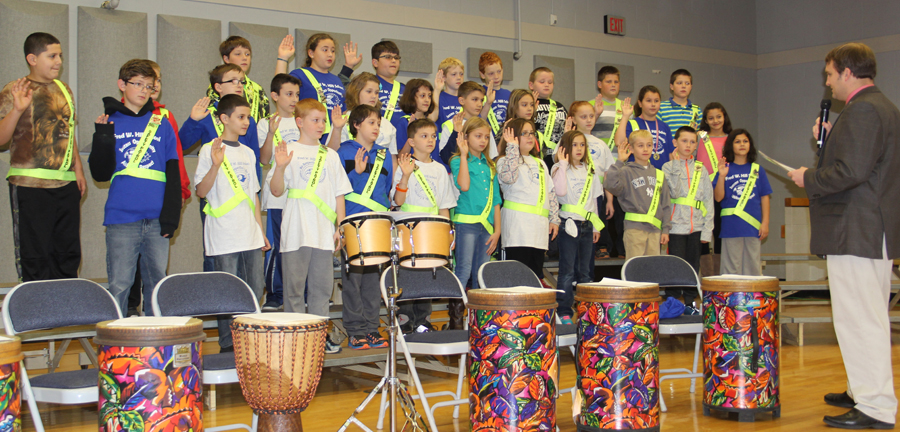 Brockport Hill Elementary School principal Brandon Broughton swore in the fourth and fifth grade inductees as Safety Patrol officers for the 2015-16 school year. Provided photo
