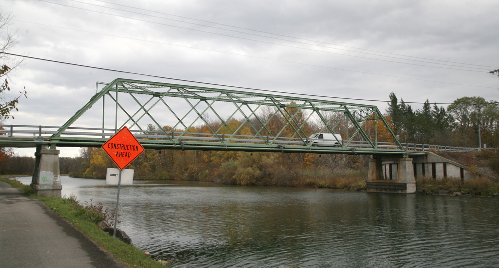 Repairs to structural steel and other parts of the Gillett Road bridge over the Erie Canal in Ogden will allow an upgrade to the weight capacity of the span. Photo by Walter Horylev taken October 29