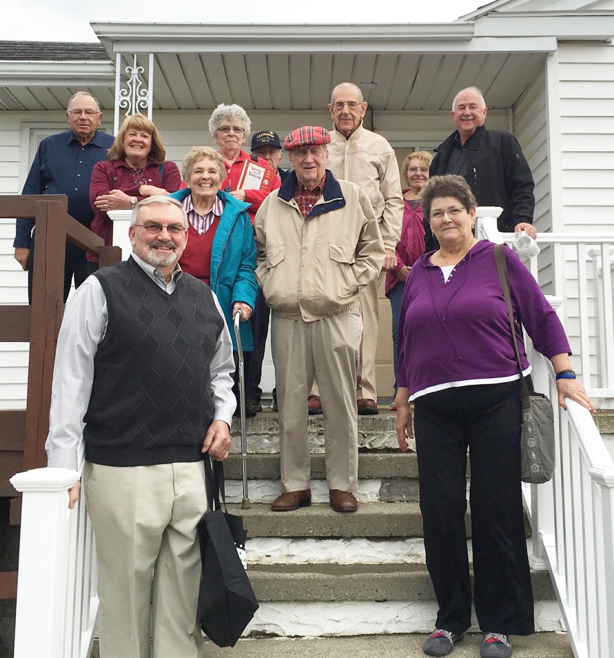 Among those who attended the luncheon and made use of the newly repaired stairs were (front row) Harold Martin, Mary Martin; (second row) Doris Betteridge, Richard Betteridge: (back row l to r)  Joe Olsovsky, Sandy Olsovsky, Verna Nelson, Roy Hamblin, George Becker, Ann Hamblin, Doug Becker. During recent work, the railings were replaced and the handicap ramp was repaired and painted. Provided photo
