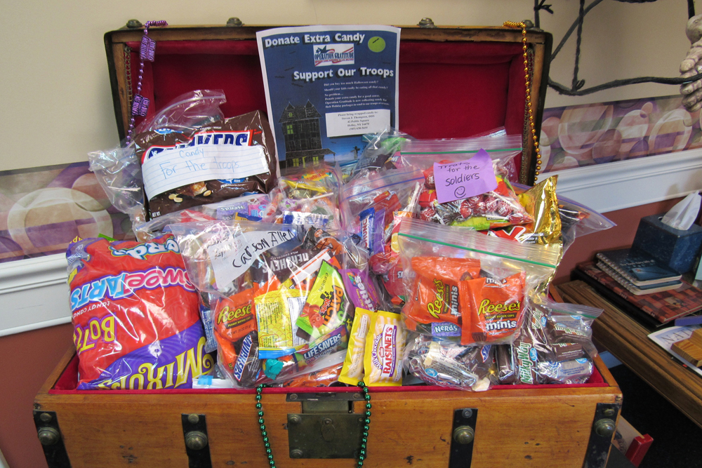 The treasure chest at Dr. Thompson's office overflowed with candy donations for the office's military outreach. K.Gabalski photo