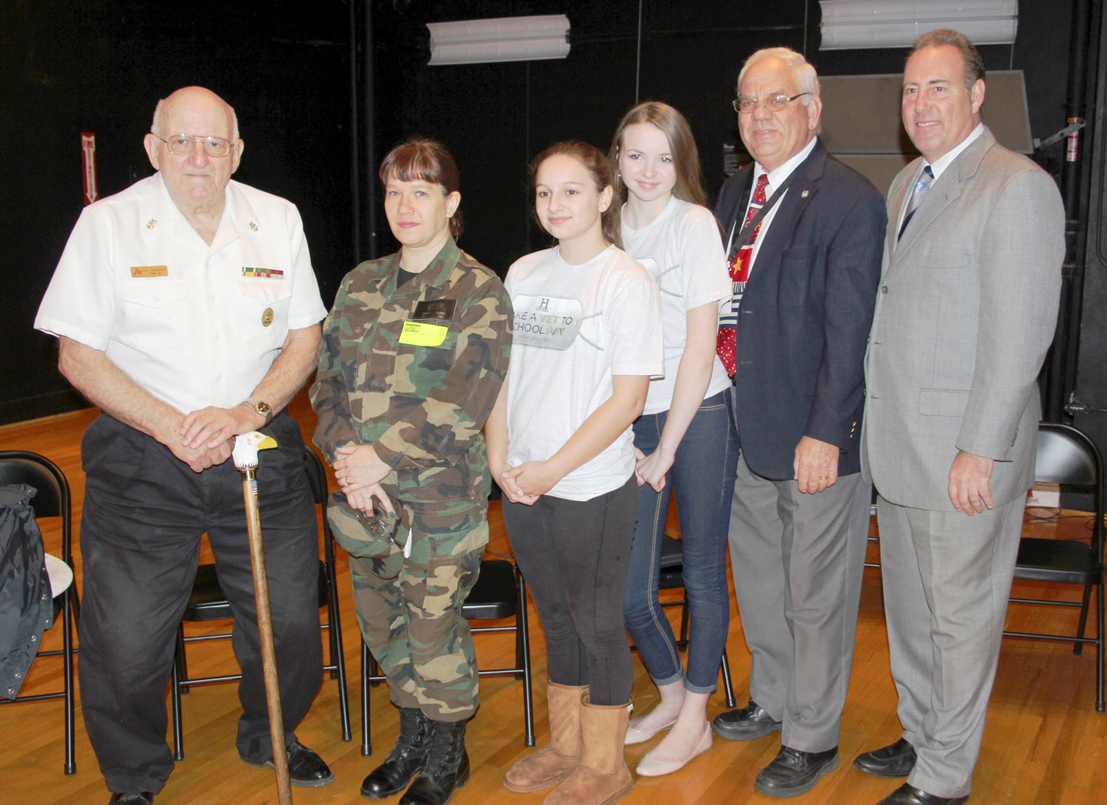 Dick Griswold, Sharon Chaplain, Hannah Johncox, Catherine Davignon, Gerry Maar and Senator Joe Robach all participated in Take a Vet to School Day at Brockport Oliver Middle School on November 13. Provided photo