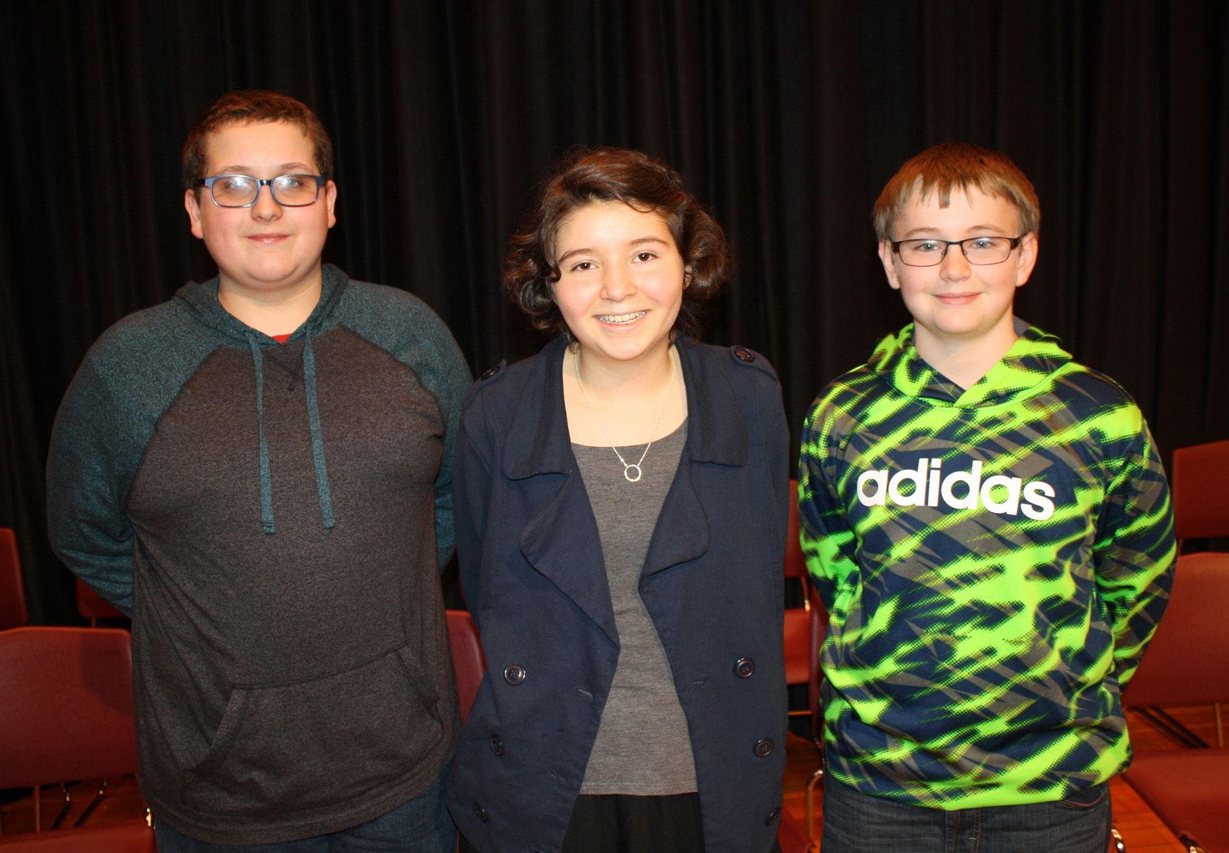 Robert Fowler/Byron-Bergen Grades 6-8 and Buffalo Evening News Spelling Bee (l-r) runner-up Garrett Swinter, Bee champion Elli Schelemanow and runner-up Joshua Swapceinski.