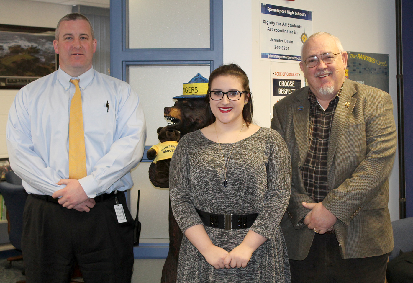 "(Left to right) Spencerport High School Principal Sean McCabe, Brianna Ross and Rotary Club secretary and contest co-chair, Charles ""Sandy"" McLellan. Provided photo"