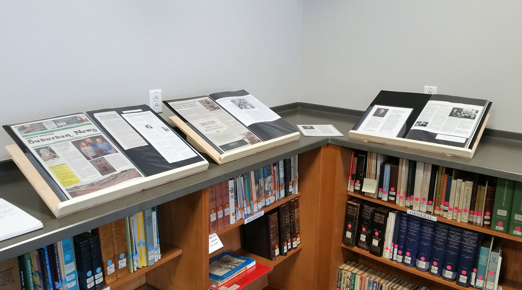 Westside News contributing writer Doug Hickerson has his portfolio of articles on display in the Seymour Library Local History Room. G. Griffee photo