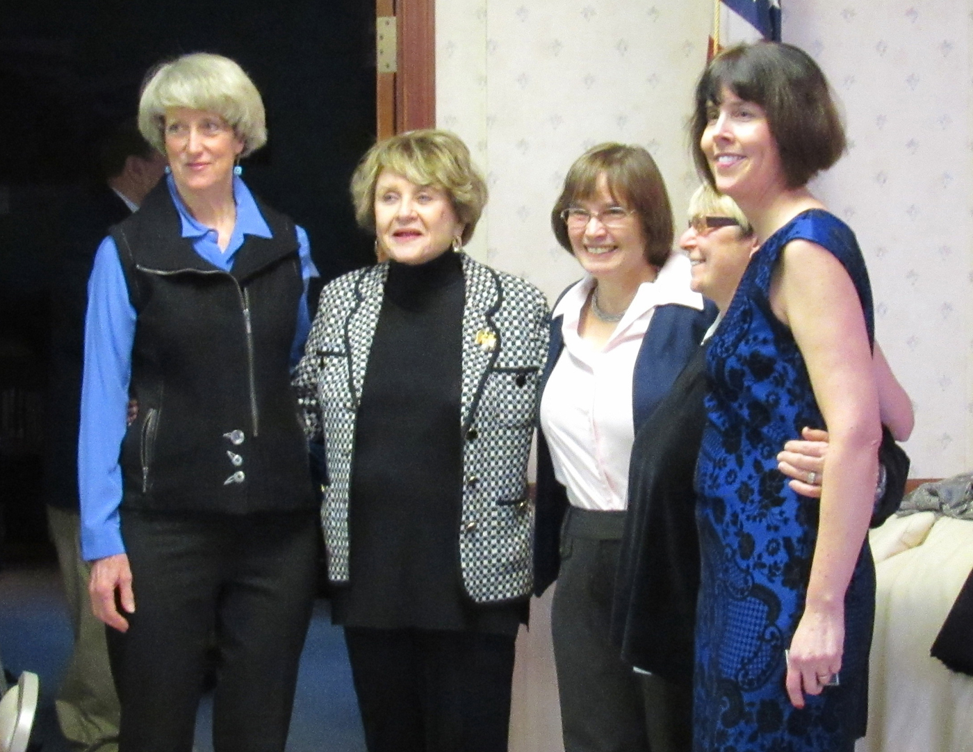 Brockport Mayor Margay Blackman, Congresswoman Louise Slaughter, Brockport Village Trustee Annie Crane, Sweden Town Council Member Lori Skoog and Sweden Town Council Member Mary Rich (l-r) pose for photos on January 3 at The Center in Brockport, just prior to the swearing-in ceremony.