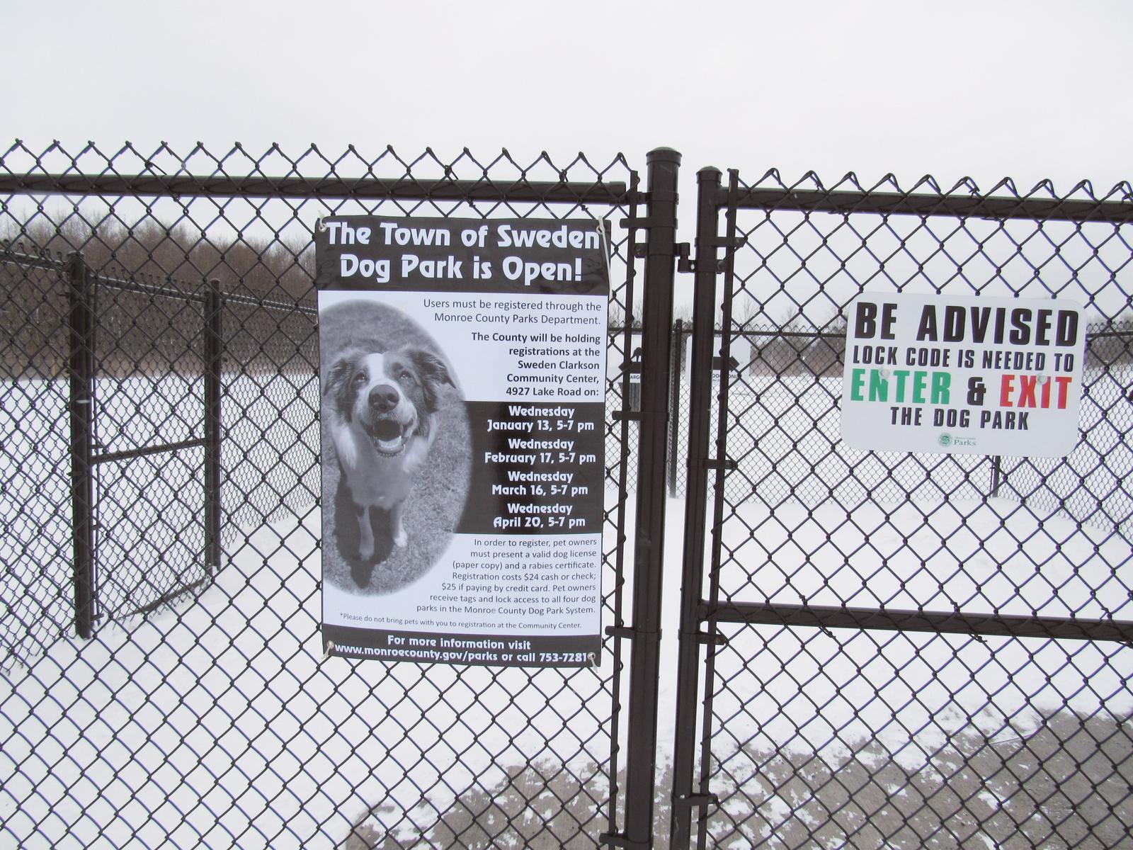 The gate at Sweden Dog Park, the newest in Monroe County's Dog Park system. K. Gabalski photo