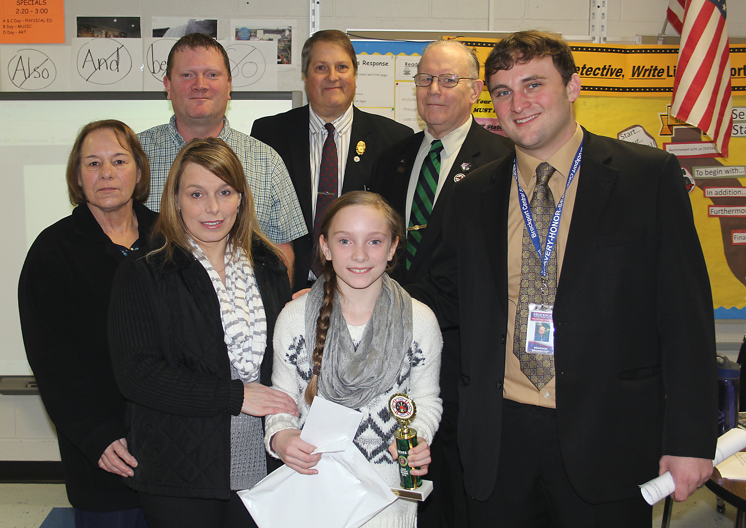 bcsd students win fire prevention essay contest westside news danielle jewell wolf her family acting hill principal brandon broughton and monroe county