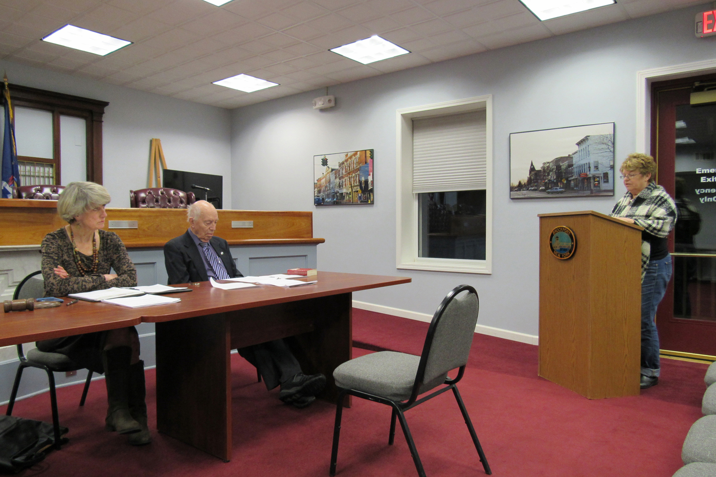 Brockport Mayor Margaret Blackman and Deputy Mayor Bill Andrews listen as Josephine Matela of ProBrockport, addresses trustees before their work session on February 22.  Matela told trustees there is no need for a pre-dissolution vote study. K. Gabalski photo