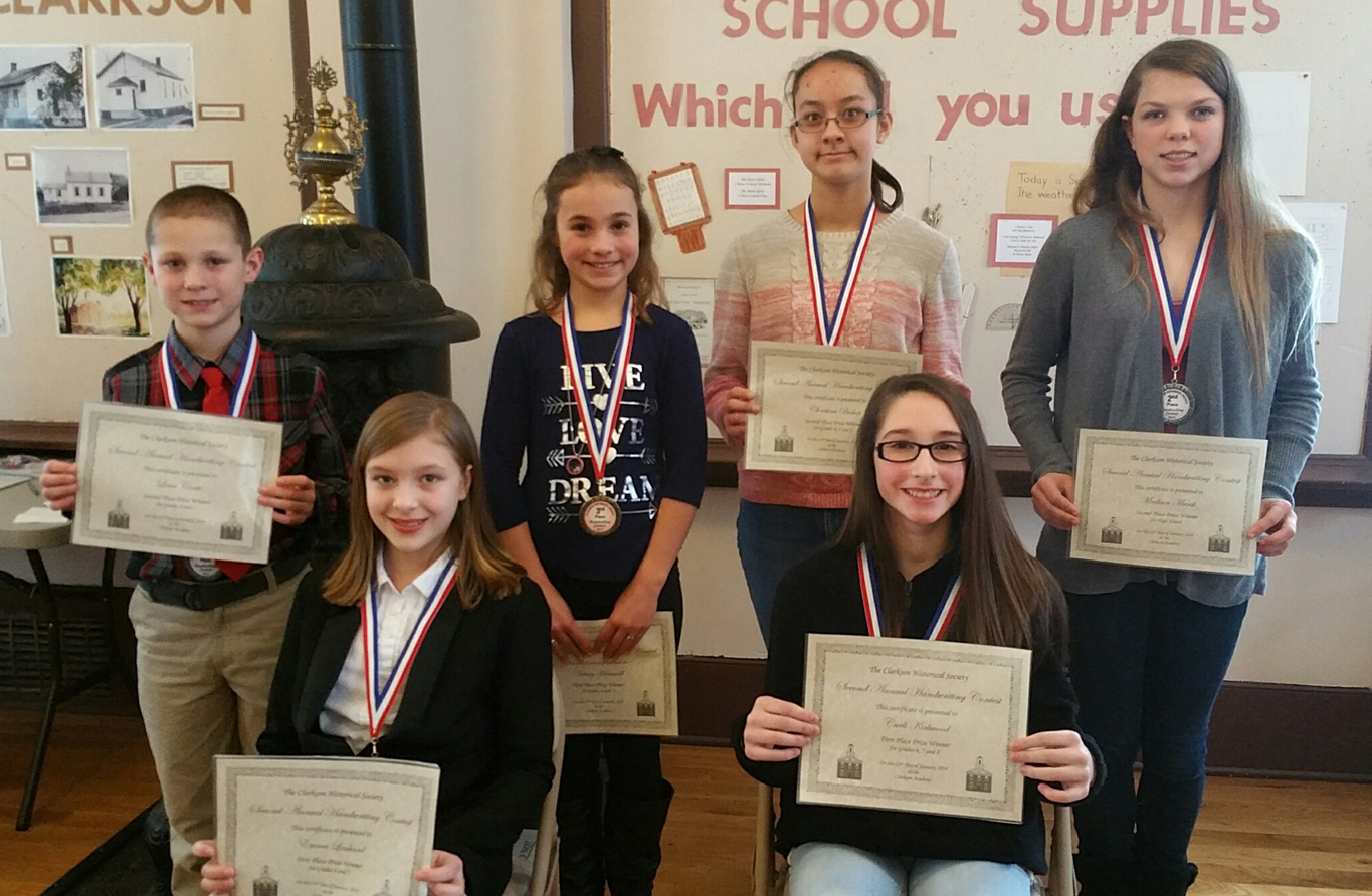 The Second Annual Handwriting Contest winners present at the Clarkson Academy awards ceremony included: Seated (l-r) - First place winners Emma Lenhard (grades 4-5) and Carlie Kirkwood (grades 6-8). Standing (l-r) - Louie Conte, second place (grades 4-5); Aubrey Hammill, third place (grades 4-5); Christina Bishop, second place (grades 6-8); and Madison Marsh, second place (grades 9-10). Missing from photo are Jacey Donahue, Kennedy Jones and Dakota Thompson. Photo by Dianne Hickerson