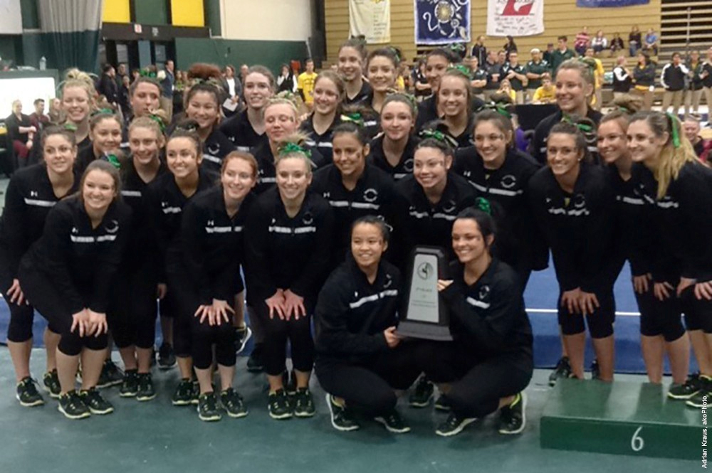 The College at Brockport women's gymnastics team took second in the 2016 National Collegiate Gymnastics Association Championship. Photo by Adrian Kraus