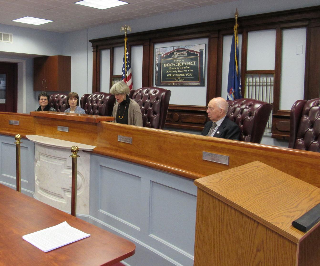 Brockport Village Board members met Saturday, March 5 to set the time of the vote on village government dissolution. K. Gabalski photo