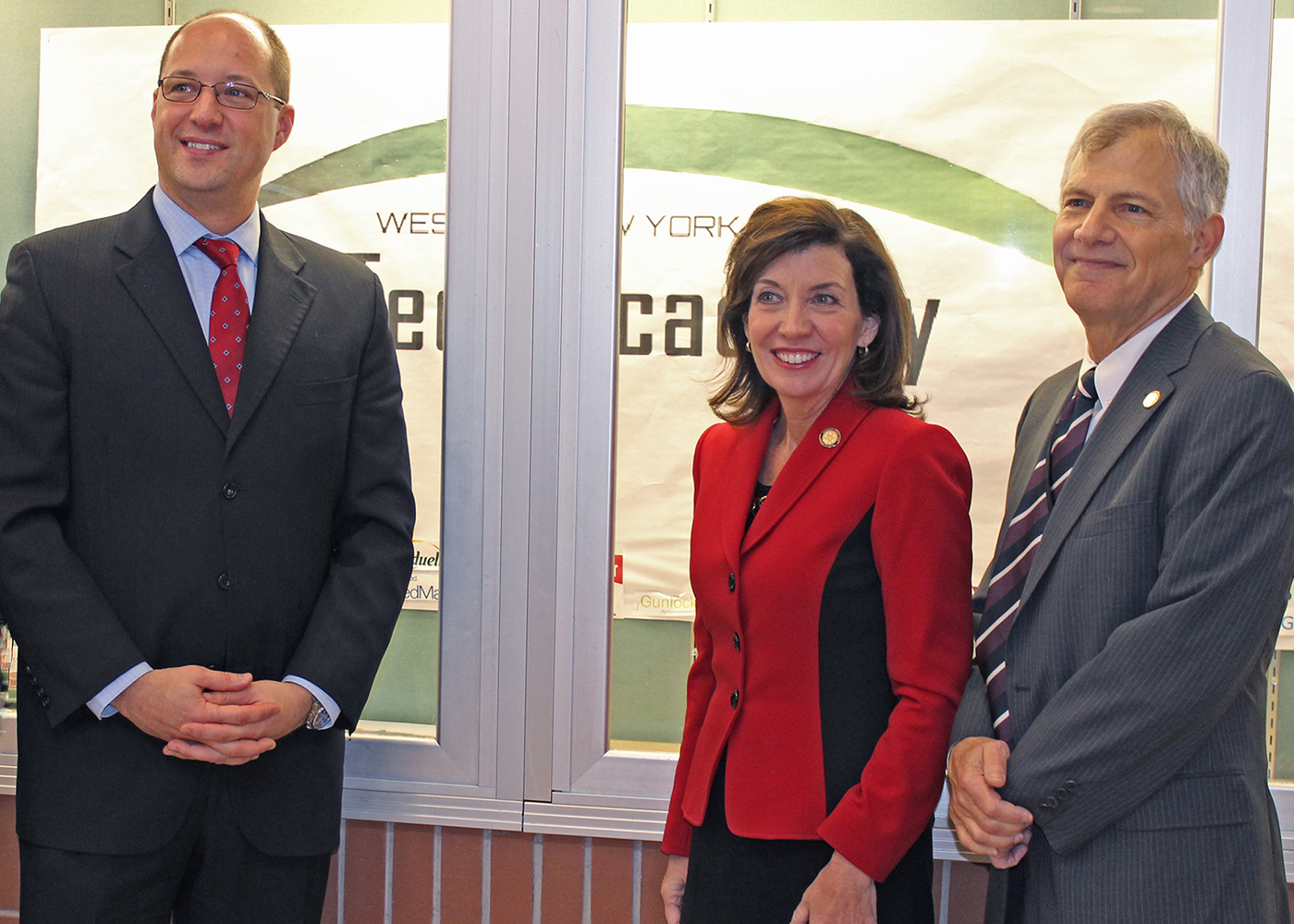 (L-r) WNY Tech Academy Principal Thomas Schulte, Lt. Governor Kathleen Hochul and BBCSD Interim Superintendent Dr. Jon Hunter in the lobby of the new school campus at Byron-Bergen Junior/Senior High School. Provided photo