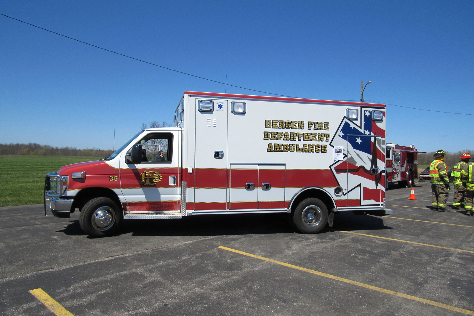 The new Bergen Fire Department ambulance dedicated in honor of fallen Bergen Fire Department/ EMS member Barry Miller sits outside the firehouse Saturday, April 23 for the motor vehicle accident/EMS demonstration. K. Gabalski photo