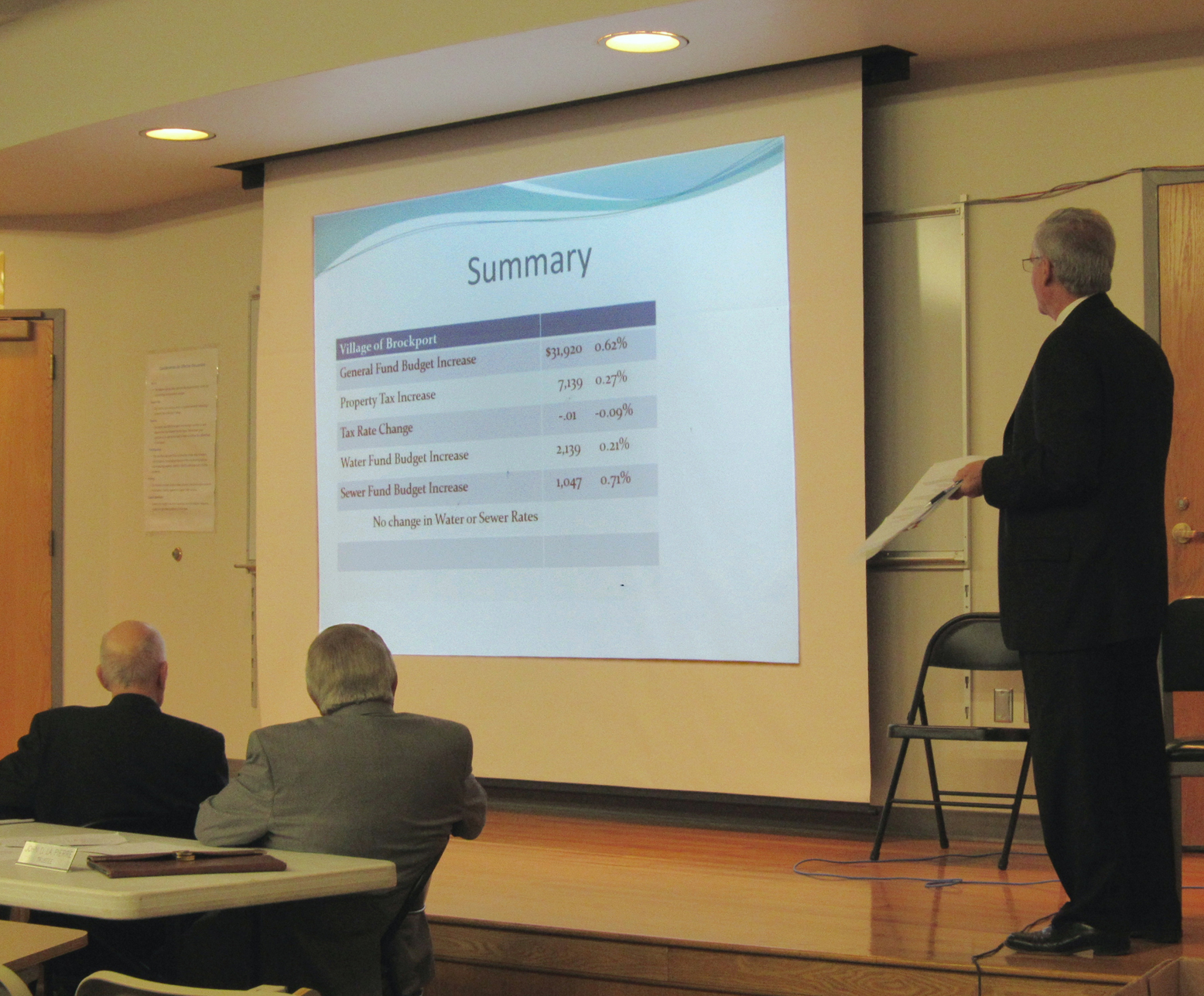 Brockport Treasurer Daniel Hendricks (standing far right) presents the 2016-17 Village budget proposal April 11 while trustees William Andrews and John LaPierre look on. K. Gabalski photo