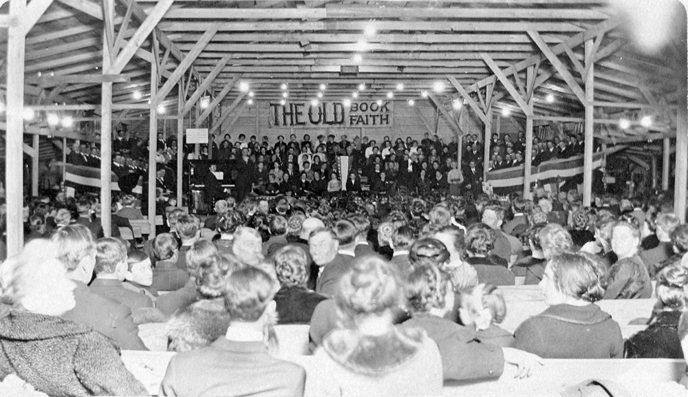 Inside the Tabernacle which was filled every night for six weeks. Its seating capacity was 1,000.  Location is on the site of present day 46 West Avenue, Hilton. Provided photo