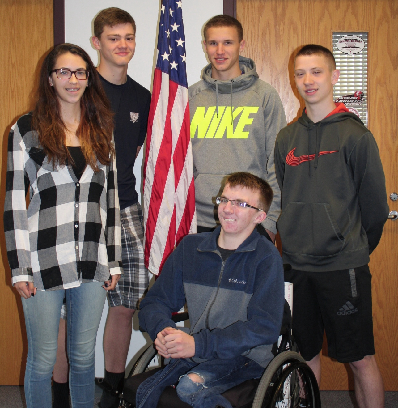 American Legion Boys and Girls State representatives from Byron-Bergen include (front) Russell Cunningham. Back (l-r) Alexandria Loewke, Colin Noeth, Brandon Burke and Ryan Richardson. Provided photo