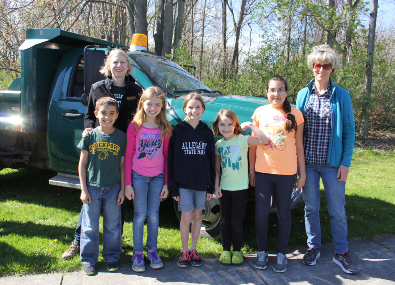 The College at Brockport President Heidi Macpherson, Hill School fourth graders Javier Benzan, Kylie Ryan, Mackenzie Monnier, Alexandra Mofardin and Hadeel Amireh and Mayor Margay Blackman. Provided photo