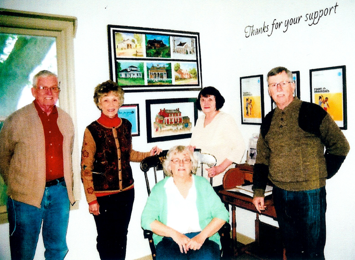 The opening of the renovated Collections Room at Streeter's Inn. Carol Thoms of the Chili Historical Society put in many hours restoring the room. Pictured (l-r) are Ed Adams and Judy Wood, members of the Chili Art Group, who created some of the pictures in the mural behind them; Carol Thoms, Secretary of the Historical Society; Priscilla Beeman, President of the Historical Society; and Peter Widener, Town of Chili Historian. Provided photo