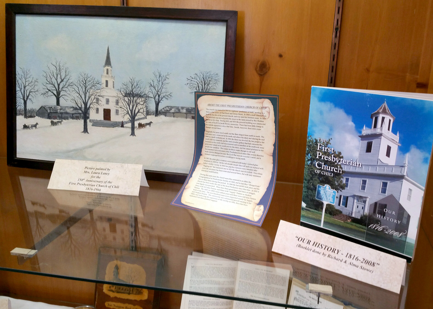 Some of the artifacts that illustrate the First Presbyterian Church of Chili's 200-year history. Provided photo