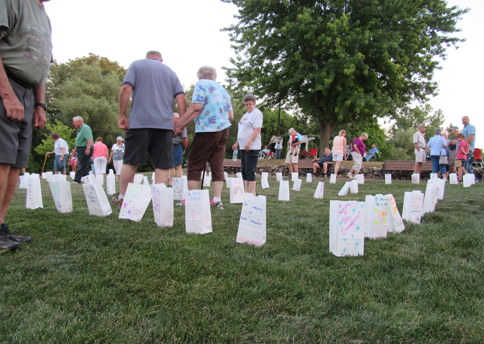 Those attending the Luminaria Lighting Ceremony in Churchville August 3 walk amongst the luminary bags, which are labeled with the names of those of have died from cancer, survived cancer, or who are currently fighting the disease. K. Gabalski photo