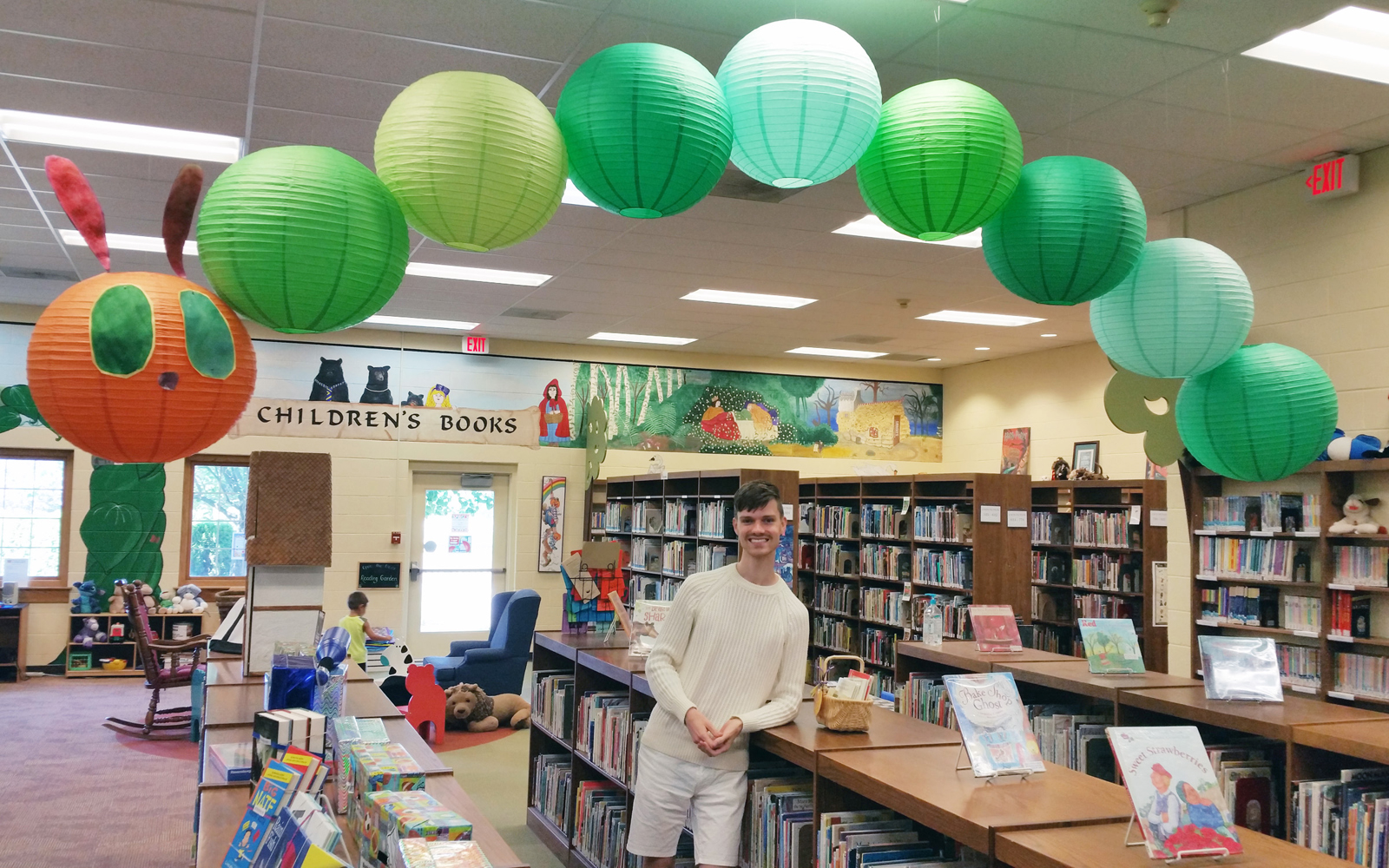 Michael Murtaugh, a clerk at Ogden Farmers' Library, has been creating impressive displays for the past four years. G. Griffee photo.