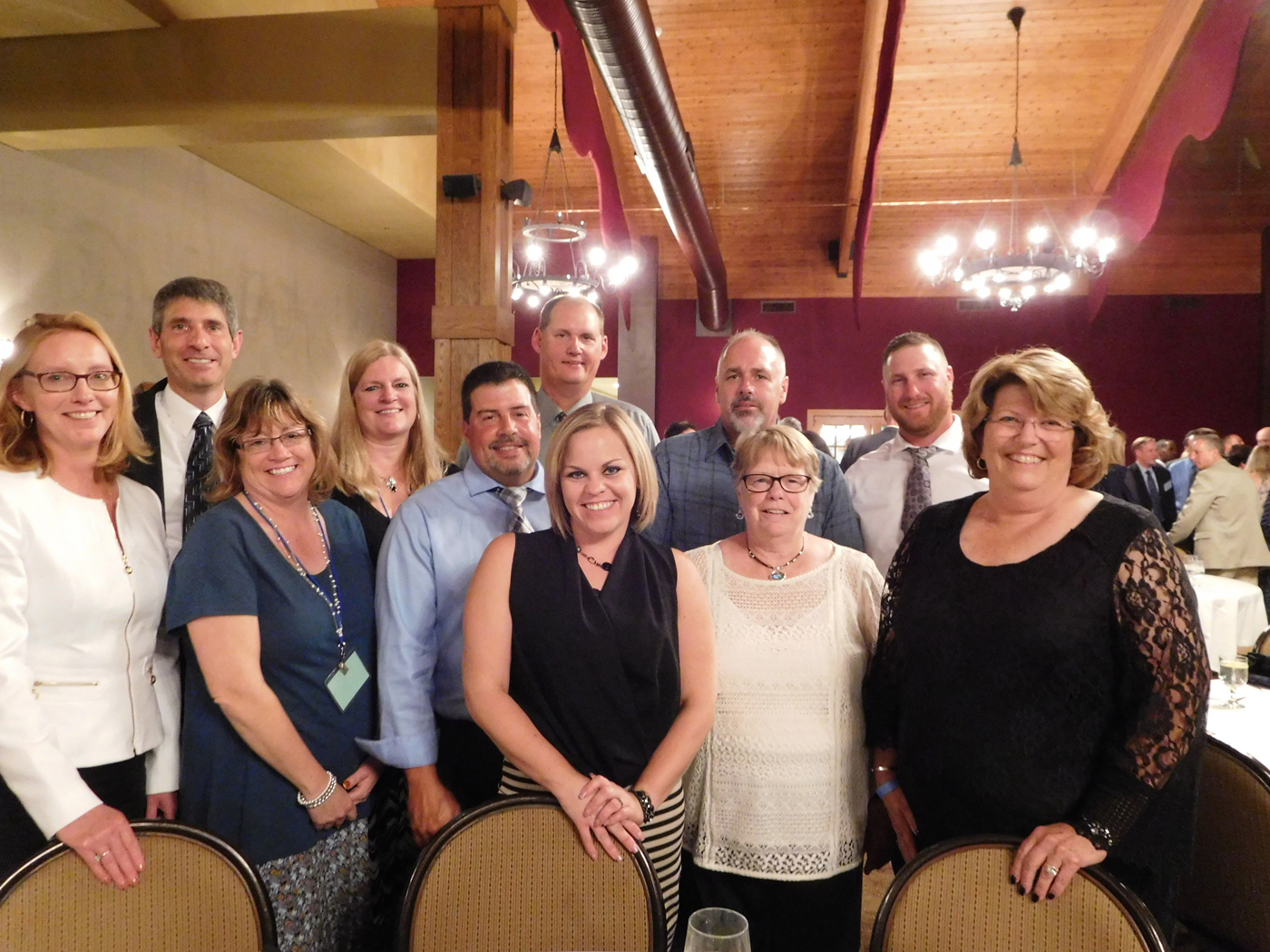 The Churchville contingent attending the 86th MEUA Annual Conference in Ellicottville pose with Mayor Nancy Steedman, who was installed as the first woman MEUA president. Provided photo