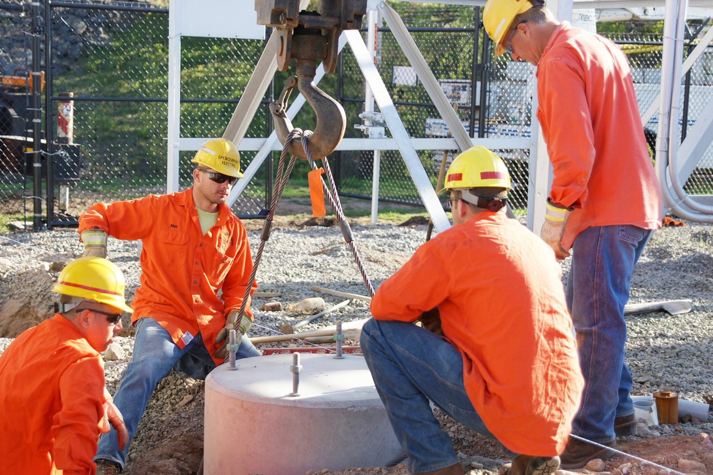SME employees working on the substation. Provided photo
