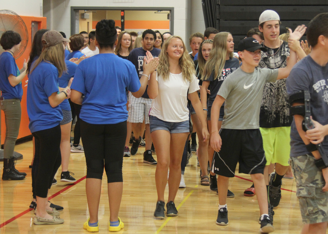 Churchville-Chili's Class of 2020 is welcomed to high school by a gauntlet of smiling Link Crew student leaders. Provided photo