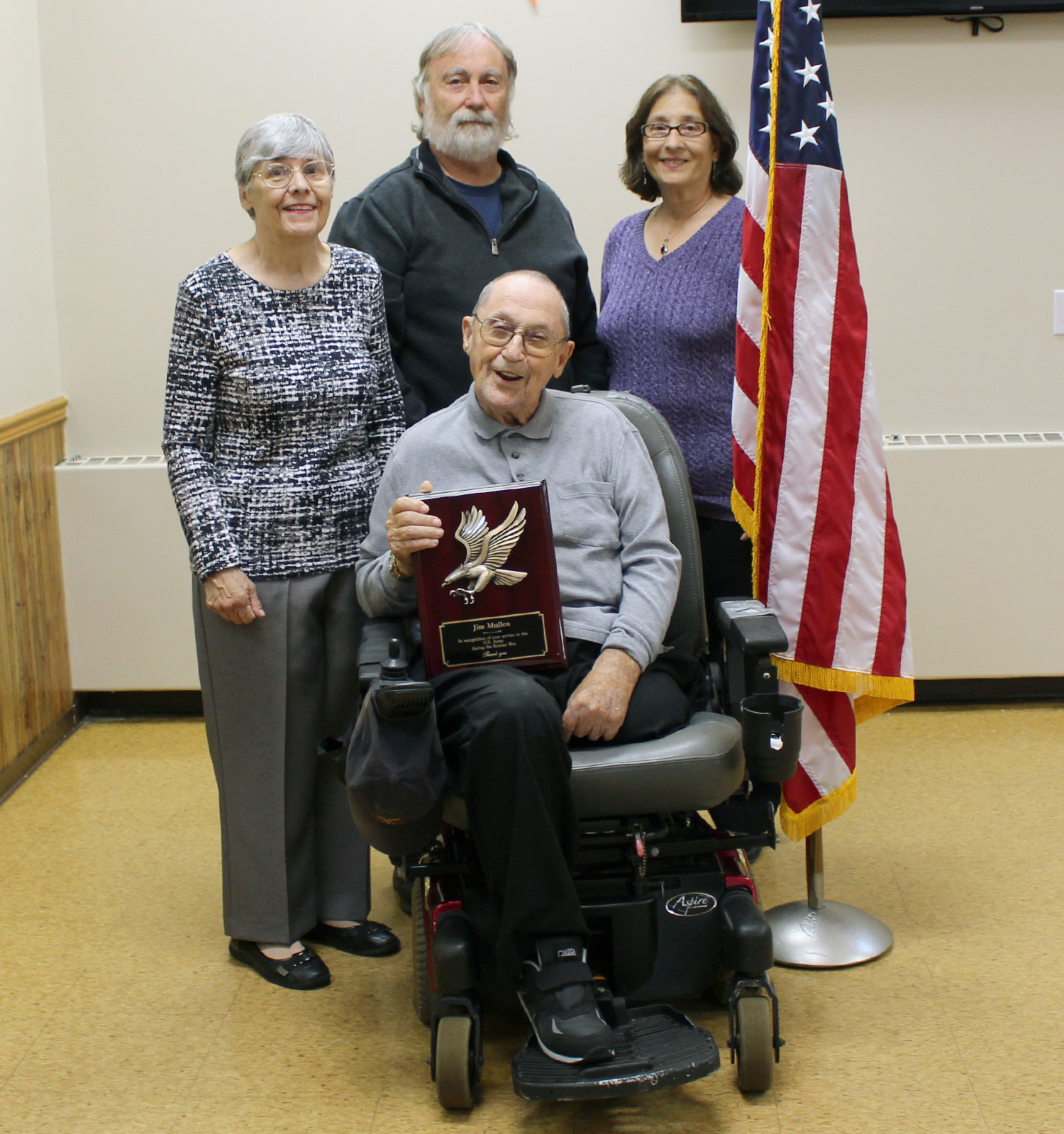 Korean War Veteran James Mullen with his wife, Saralynne, son, Glenn Mullen and daughter-in-law, Jana Mullen. Photo by Grace Griffee