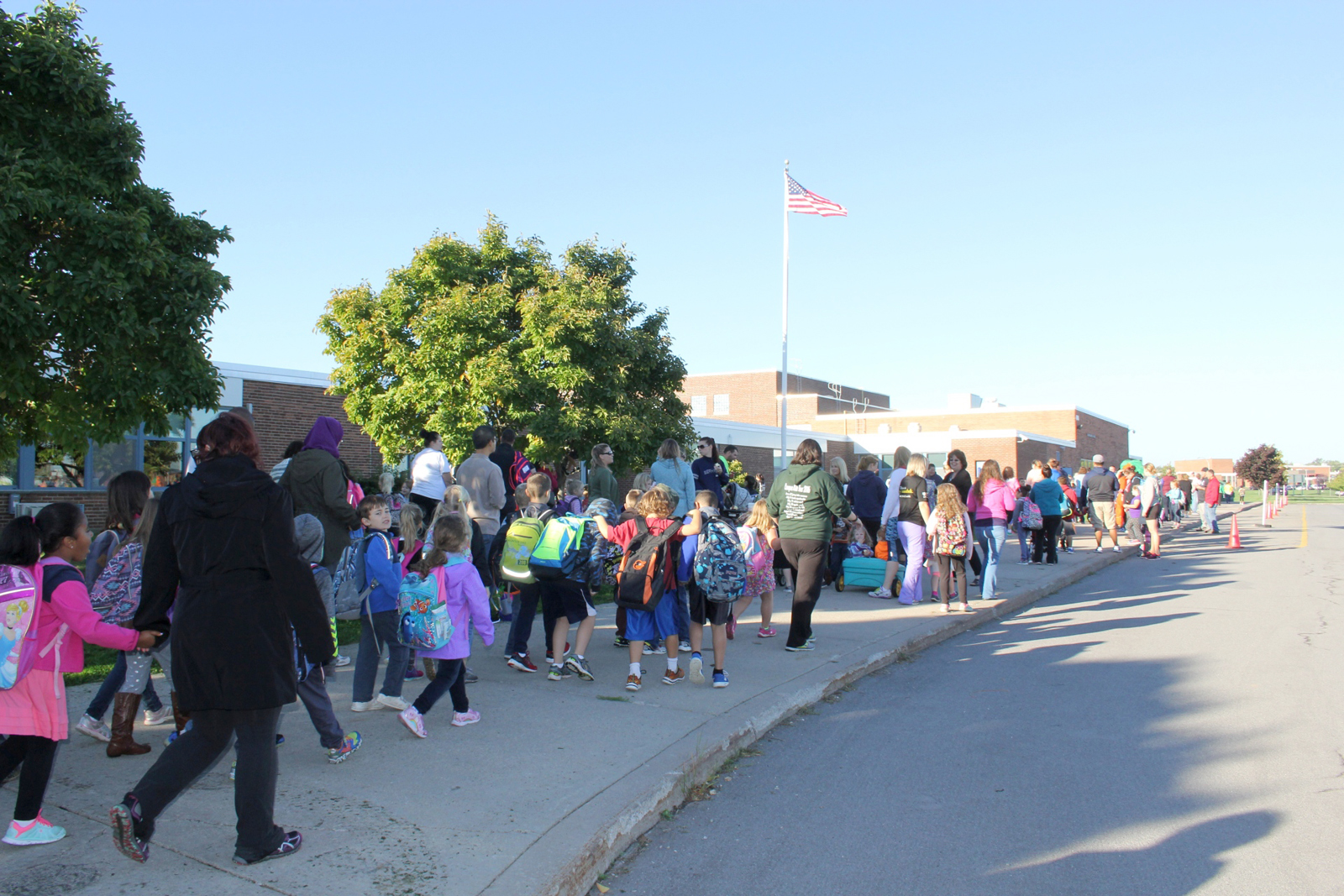 Brockport elementary students participate in the district's 11th year of Walk to School Day.  Provided photo