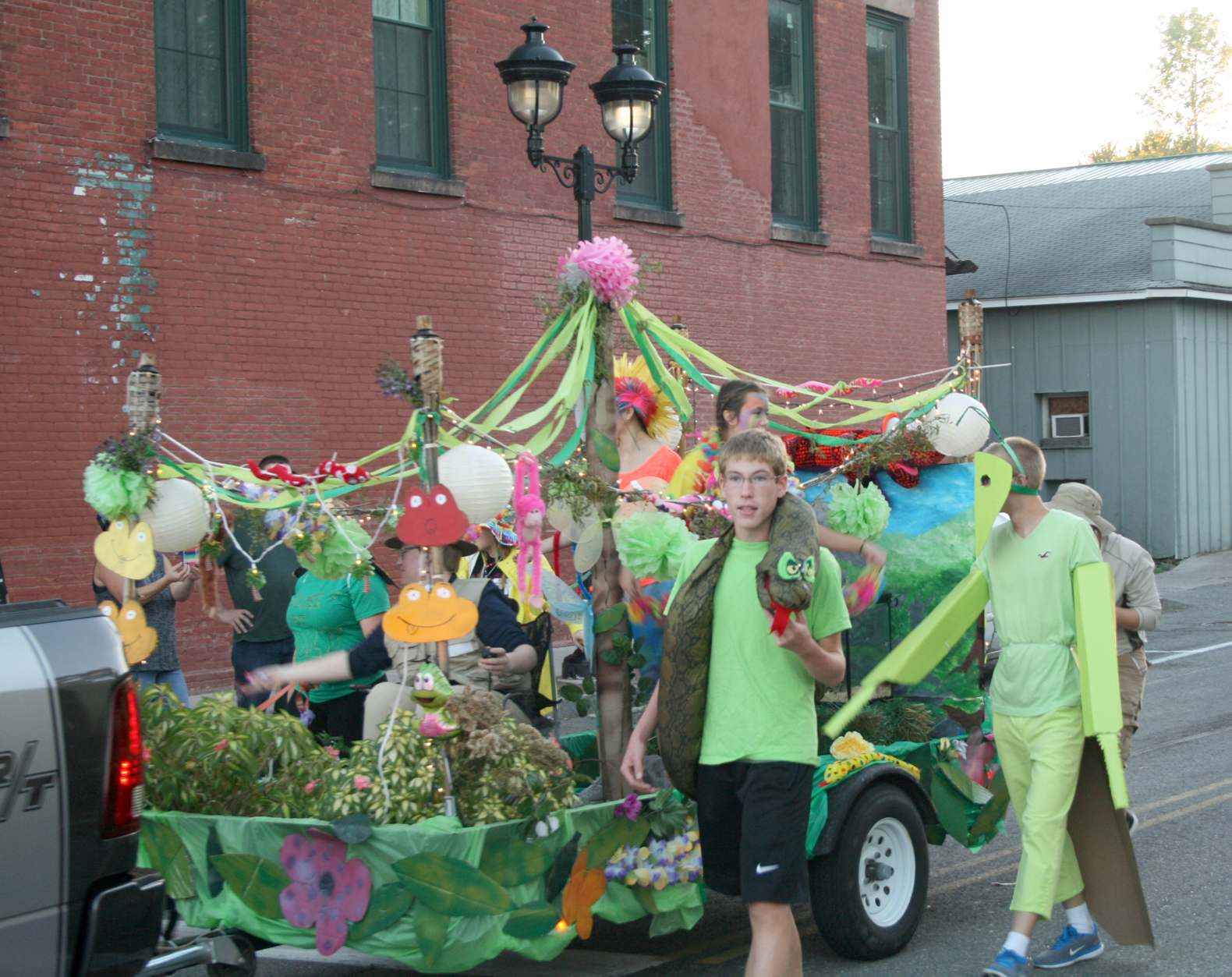 Holley seniors with their rain forest float march in the Homecoming Parade. Provided photo