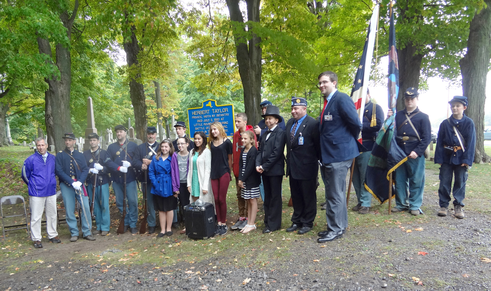Albion Middle School Students October 8 dedicated a New York State Historical Marker to Herbert Charles Taylor at Hillside Cemetery in Clarendon. Provided photo