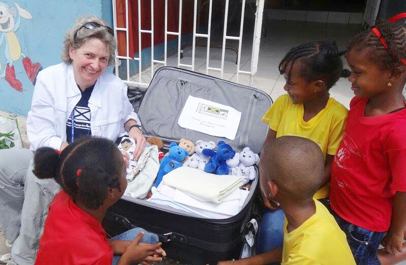 Dr. Katrina Arndt of St. John Fisher College was a courier delivering a suitcase to Kingston, Jamaica. Provided photo