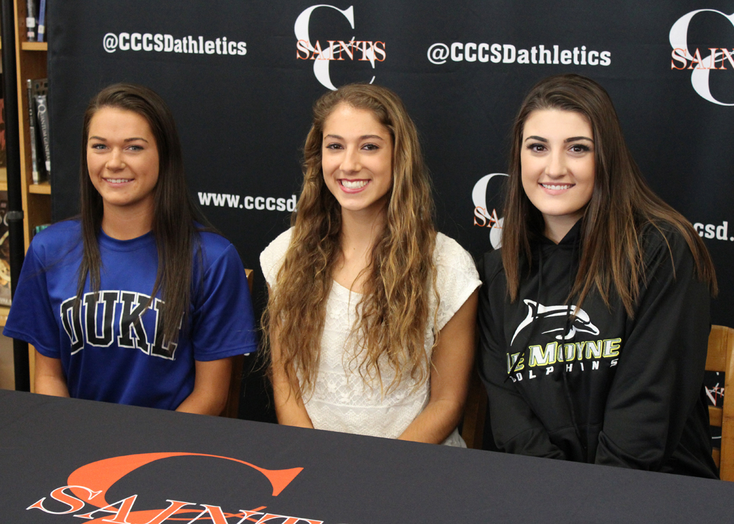 Churchville-Chili seniors headed to bright careers in college sport: (l-r) Katie Cosgrove, Anna Kostarellis and Nina Orlowski. Provided photo