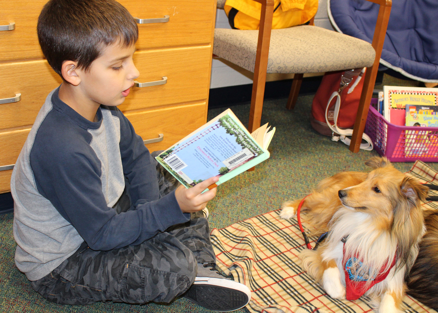 Carter Davis, a fourth grader in Julie Light's class, reads to one of the dogs visiting during Night at the Village, Village Elementary School's One School, One Book family event. Provided photo