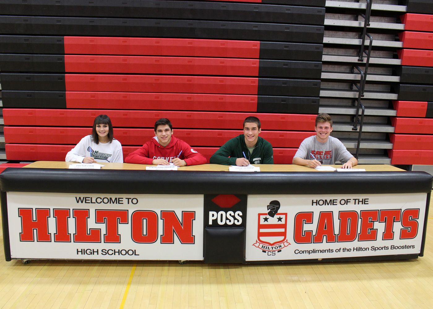 Four Hilton seniors signed letters of intent to play sports at the collegiate level (l-r): Payton Cook,  Yianni Diakomiholis, Louie DePrez and Tyler Dalle. Provided photo.