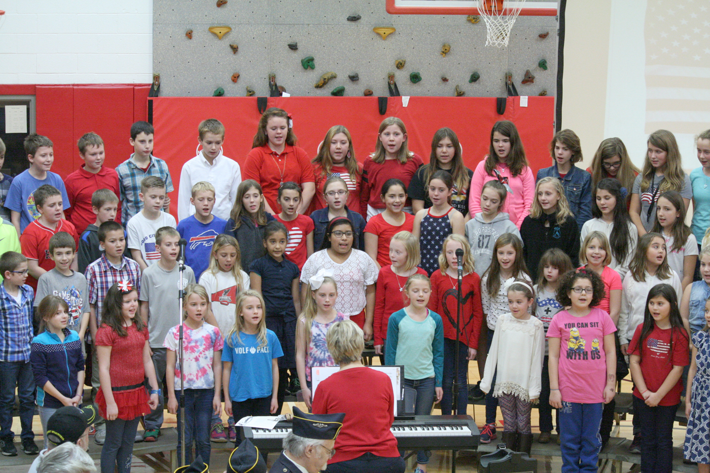 The Holley Elementary Chorus sings a patriotic song. Provided photo