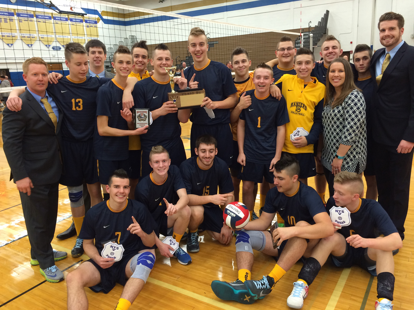 Spencerport Rangers Boys' Volleyball Team wins their third volleyball title. Provided photo