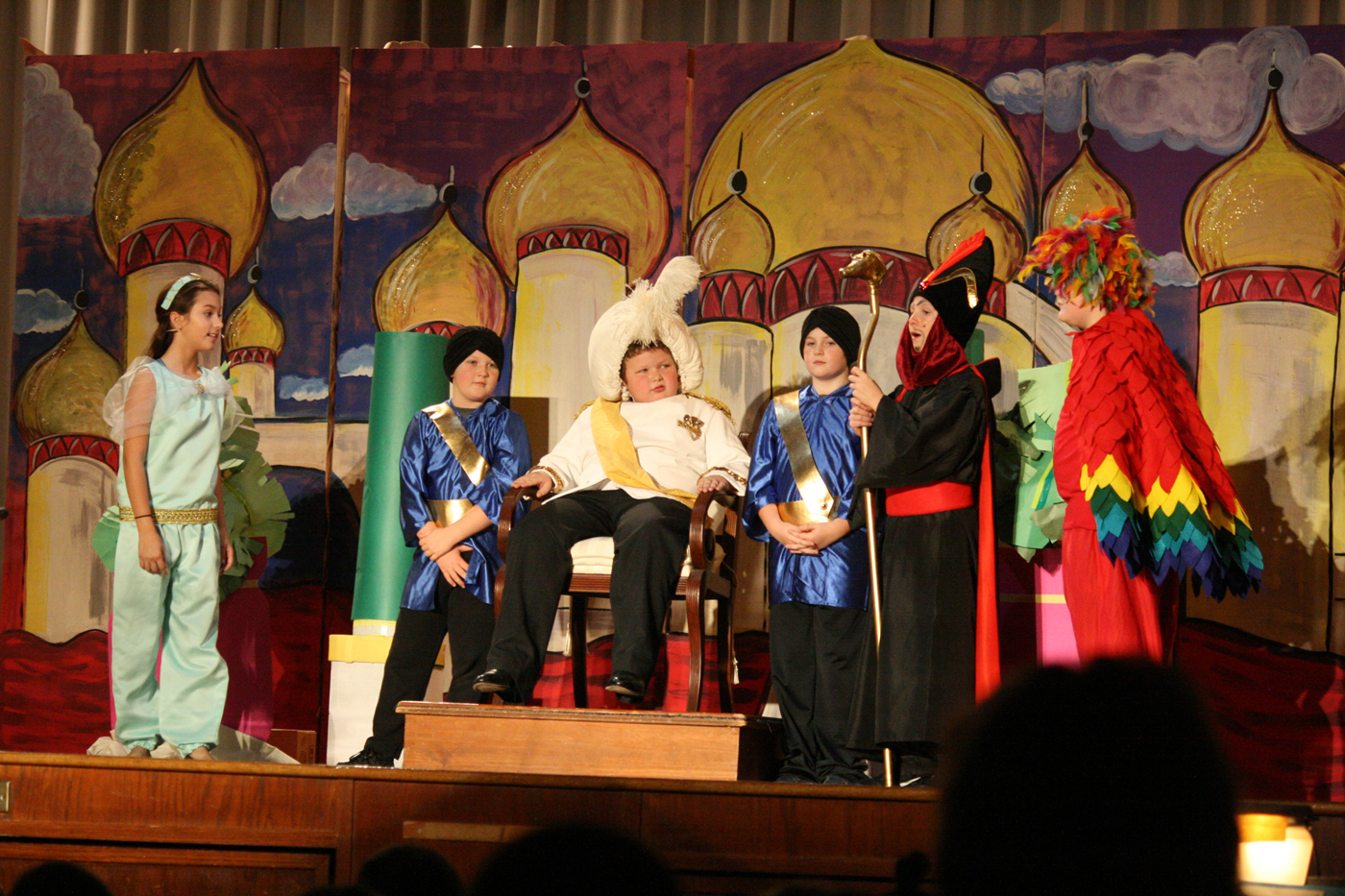 "From left, Megan Gates (Jasmine), Seth Pray (Royal Guard), Johnathan Plucknette (Sultan), Jimmie Swift (Royal Guard), Louie Conte (Jafar) and Casey Gardner (Iago) act out a scene from ""Aladdin Kids."" Provided photo"