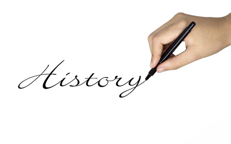 38933667 - history word written by human hand over white