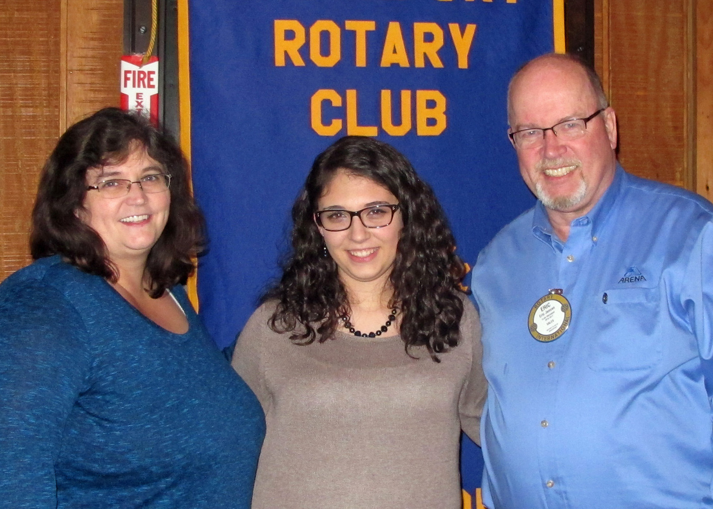Debbie Piedmonte, her daughter Kayla Piedmonte and Brockport Rotary Club president Eric Jensen at presentation of gift to Kayla. Provided photo