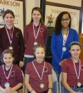 Winners in the 2017 Annual Clarkson Historical Society Handwriting Contest appear in the Clarkson Academy building where they received their awards on January 22. Students (l to r):  seated - Abigail Russo, Audrey Buck and Charity Huber; standing - Claire Buck, Madison Huber and Kayleigh Rodell. Missing from photo: Michaela Evert, Skylar Sharpe and Vincenza Viola. Photo by Dianne Hickerson.
