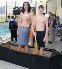 Senior Aaron Ennis and freshman Tyler Davies were crowned the Cardboard Boat Race champions.