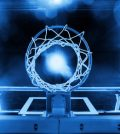 42140498 - basketball hoop in a sports arena blue toned