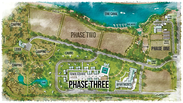 he long-range plan for Homesteads for Hope is divided into three phases. Phase one (top right) includes the renovation of the barns, a makeover of the estate home, and expansion of the farm school. The farm will launch in May. Phase two (at top along the canal and the parcel of farmland below phase one) outlines the expansion of the farm to include more programming and services and allow for public use of the facility. Phase three (bottom) includes plans for a 30-acre Homestead Village compound for over 150 people with and without disabilities. Provided photo.