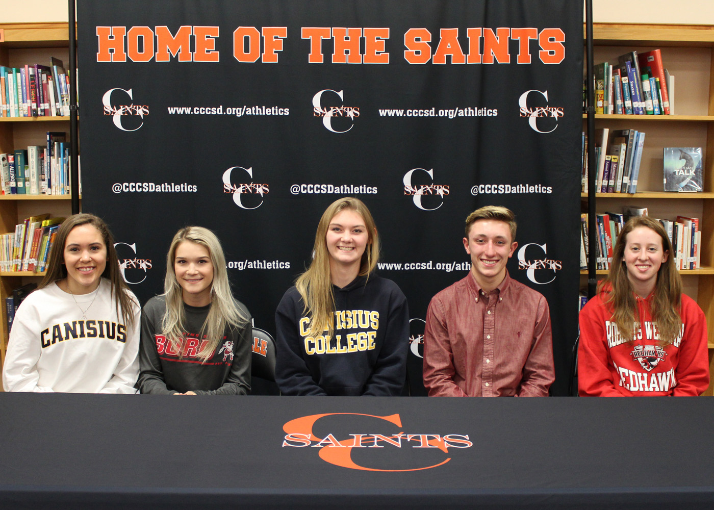 Churchville-Chili seniors headed to bright careers in college sports (l-r):  Ilia Bagley, Rian McMullen, Skylar Burlee, Marko Mitrevski and Laura Freeman.