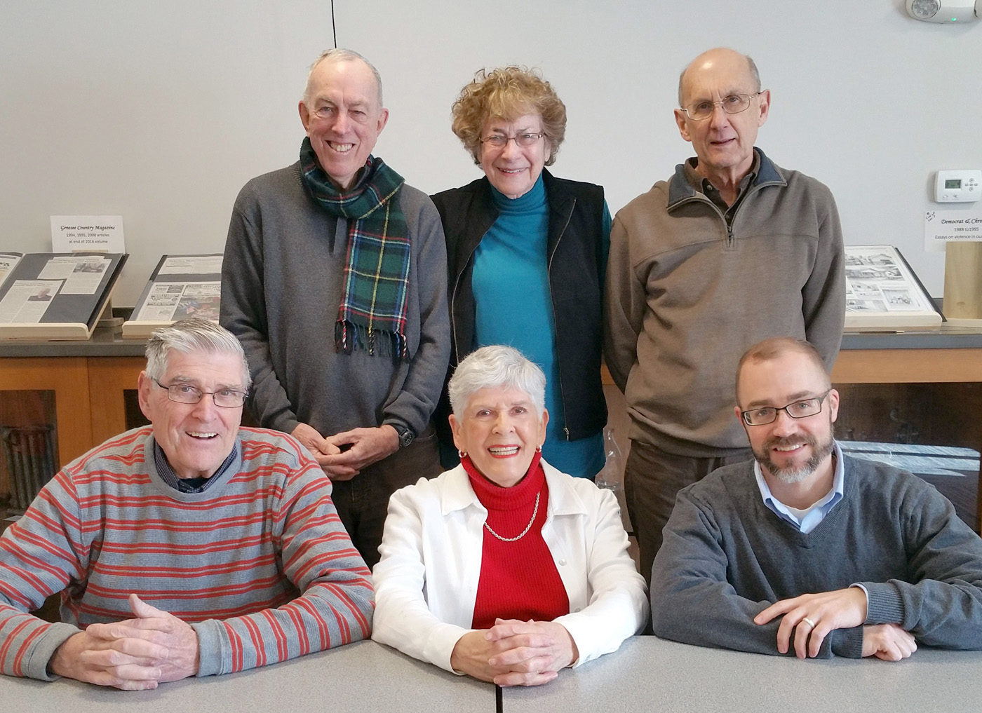 "An advisory board of local community members was formed to help guide the new initiative in Lifelong Learning (l-r): Standing - Ray Duncan, Rosie Rich, Gordon Fox;  Sitting - Richard Fenton, Joan Fenton, Jason Dauenhauer. Dauenhauer is Director of Multigenerational Engagement and leads the initiative. Richard ""Bud"" Meade is absent from the photo."